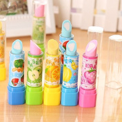 Nikgic 4pcs Fruit Lipstick Style Erasers Pencil Eraser Rubbers Office Stationery Gift Toy