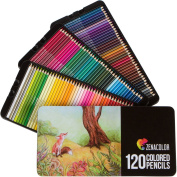 120 Coloured Pencils (Numbered) with Metal Box by Zenacolor - 120 Unique Colours and Pre Sharpened Crayons for Colouring Book - Easy Access with 3 trays - Ideal Gift Set for Artists, Adults and Children