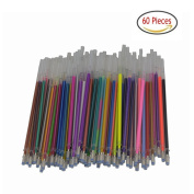 60 Gel Pen Refills-Glitter, Metallic, Classic, Pastel, Neon, Swirl, Glitter-Neon, Ideal for Adult Colouring Books, Scrapbooking, Crafts and Kids Projects