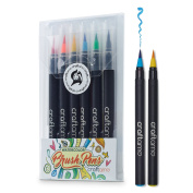 Watercolour Brush Pens for Painting, Colouring, Crafting & Calligraphy - 6 Premium Soft & Flexible, Real Brush Tipped Art Markers from Craftamo.
