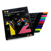 12 Dual tip watercolour art marker pens for kids and adult colouring books. Teacher supplies, set of double sided art pens, art supplies & back to school supplies. 12 colour office stationery pen set.