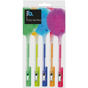 4 x Fluffy Gel Pens Green Yellow Blue Orange & Pink Party Bag Fillers School Stationery