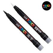 Uni Posca PCF-350 Brush Tipped Paint Marker Art Pen - Fabric Glass Metal Pen - Black & White Set