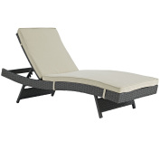 Modern Contemporary Urban Design Outdoor Patio Balcony Chaise Lounge Chair, Beige, Rattan