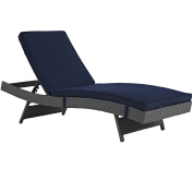 Modern Contemporary Urban Design Outdoor Patio Balcony Chaise Lounge Chair, Navy Blue, Rattan