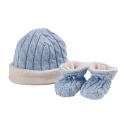 Natures Purest Fur Lined Cable Knit Hat & Booties Set - Blue