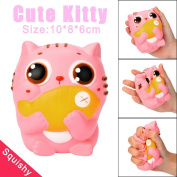 Cute Kitty Cream Scented Squishy Slow Rising Squeeze Strap Kids Toys Gifts 10CM - Great gift for Kids & Adults Sensory Play Stress Relief Toy For Autism ADHD ADD OCD