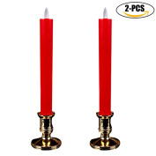 Candle Light, Funpa 2 Pcs Home Flameless Candle Electric Artificial Candle Lamp with Candle Holder