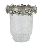 Clear Crackle Glass Hurricane with Nickel and diamante flower trim - 13cm