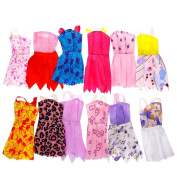 WXLAA 12pcs/set Mix Sorts Beautiful Handmade Party Dress Fashion Clothes For Barbie Doll Kids Toys Gift Play House Dressing