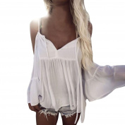 Bluester Summer Women Off Shouder Falbala Crop Tops Flouncing Beach Blouse