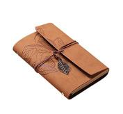 Cosanter Sketchbook Vintage Notebook 160 Page Loose Leaf Khaki Leather Cover Travel Journal for Gift