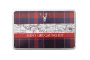 Robert Frederick Gentlemen's Grooming Kit in Flat Brushed Tin - Tartan Stag Red & Navy, Assorted