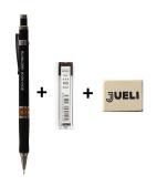 KOH-I-NOOR 5035 0.5mm Mechanical Pencil + KOH-I-NOOR Fine Graphite Leads for 0.5 mm Diameter 60mm HB Mechanical Pencil + Eraser Jueli
