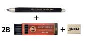 KOH-I-NOOR 5347 5.6mm Diameter Mechanical Clutch Lead Holder Pencil - Black + Koh-I-Noor 6 Gioconda 5.6 mm Graphite Leads. 4865/2B . Rubber Jueli