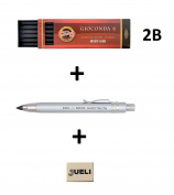 KOH-I-NOOR 5359 5.6mm Diameter Mechanical Clutch Lead Holder Pencil - Silver + Koh-I-Noor 6 Gioconda 5.6 mm Graphite Leads. 4865/2B . Eraser Jueli