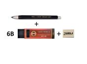KOH-I-NOOR 5347 5.6mm Diameter Mechanical Clutch Lead Holder Pencil - Black + Koh-I-Noor 6 Gioconda 5.6 mm Graphite Leads. 4865/6B . Rubber Jueli