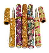 A Set Of 5Pcs Indian Handmade Home Decorative Useful Blue Pens 13cm Multi Colour