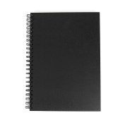 Black Cover Sketchbook A3 Portrait Spiral Wiro Semi-Hardback 40 Sheets All-Media White Cartridge Paper - 150 Gsm FSC™ Ecological Cartridge Paper - Suitable for Pencils, Pens, Markers, Inks, Light Watercolour Washes, Gouache