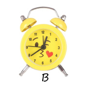 Sisit Emoji Emoticon Twin Bell Silent Alloy Stainless Metal Alarm Clock for Office workers, Students