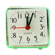 Sisit Square Small Bed Compact Travel Quartz Beep Alarm Clock Cute Portable for Office workers, Students