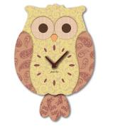 "Aracne Italy ""Pendulum OWL Clock Ochre"" 24x35 cm"