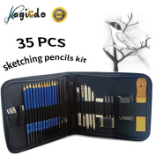 Magicdo® 35Pcs Drawing Pencil Set Include Sketching Pencils, Erasers, Charcoal Pencils, Graphite pencils, Pencil Sharpener and Pencil Extender, Art Supplies Sketching Tools for Sketching, Drawing