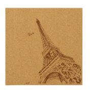 FOKOM Eiffel Tower Pattern Hanging Corkboard Message Board (Random Delivery for Accessories)-Wood