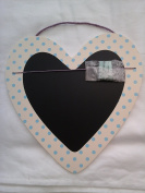 Heart Shaped Blackboard / Chalkboard blue spots and pegs to hold notes / photos
