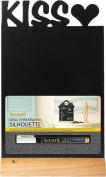 Securit Silhouette Kiss Table Chalk Board - Black/Teak