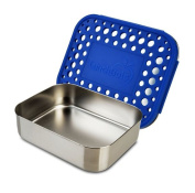LunchBots Uno Stainless Steel Food Container - Open Design Perfect for Sandwiches, Wraps, Salads or a Small Meal - Eco-Friendly, Dishwasher Safe and BPA-Free - Blue Dots