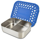 LunchBots Duo Stainless Steel Food Container - Two Section Design Perfect for Half of a Sandwich and a Side or for Use as a Snack Box - Eco-Friendly, Dishwasher Safe and BPA-Free - Blue Dots