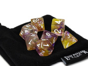 2 Tone Glacier - Yellow and Purple Polyhedral Dice Set   7 Piece   PRISTINE Edition   FREE Carrying Bag   Hand Checked Quality