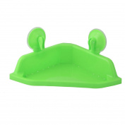sourcingmap® Plastic Triangle Shape Bathroom Soap Toothbrush Rack Organiser Holder Shelf Suction Cup Green