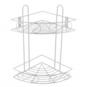 sourcingmap® Bathroom Wall Mount Storage Rack Organiser Corner Shelf Basket Holder Silver Tone