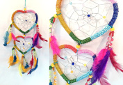 Heart Dream Catcher - 2 Hearts Chakra Colours with Tiny Beads - 40cm Length ~ All Items Dispatched Same Day ~ Royal Mail ~ When Purchased Before 1pm Mon – Fri