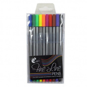 Fineliner Pens, 0.5mm nib, 10 Mixed Colours, by Chiltern Wove