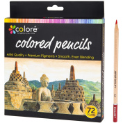 Colore Coloured Pencils – 72 Premium Pre-Sharpened Colour Pencil Set For Drawing Colouring Books – Great Art School Supplies For Kids & Adults Colouring Pages - 72 Vibrant Colours