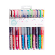Jane Davenport Mixed Media Mermaid Markers – Pre-filled Dye-based Ink Brush Pens – Set of 12 Assorted Colours