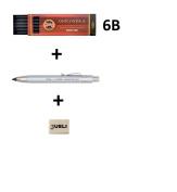 KOH-I-NOOR 5359 5.6mm Diameter Mechanical Clutch Lead Holder Pencil - Silver + Koh-I-Noor 6 Gioconda 5.6 mm Graphite Leads. 4865/6B . Eraser Jueli