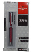 Pierre Cardin Paris Neptune Royal Red with Silver Finish Ballpoint Pen, Refillable Ballpoint Pen, Blue Ink Ballpoint Pen