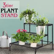 3 Tier Shelf Flower Plant Display Stand Rack Large Modern Black Metal Heavy Duty