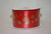 valentines ribbon 38mm x 10 yds red with gold hearts