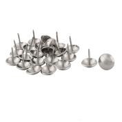 sourcingmap Metal Office Round Furniture Sofa Bed Hat Tack Nail 16mm Dia 24 Pcs Silver Tone