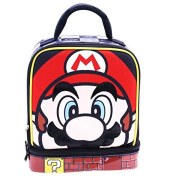 SUPER MARIO Lead Safe Dual Chamber Insulated Lunch Tote Bag Box w/Carabiner