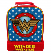 WONDER WOMAN Light-Up Lead-Free Dual-Chamber Lunch Tote Bag Box w/ Lights
