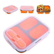 QBLEEV Microwave Bento Lunch Box with Fork Spoon , Food-grade Silicone Lunch Containers, 3 Compartment Food Storage Box, Dishwasher and Freezer Safe