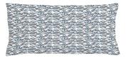 Floral Throw Pillow Cushion Cover by Lunarable, Romantic Botanical Pattern with Flourishing Peonies Bridal Vintage Bouquet, Decorative Square Accent Pillow Case, 90cm X 41cm , Grey Blue White