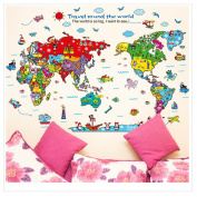 World Map Cartoon Animal Cartoon Wall Stickers Removable For Bedroom, Living room, Classroom, Kids Play Room