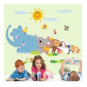 Cartoon Jungle Animals Monkey Elephant Bear Wall Stickers Removable for Baby Nursery Kids Boys and Girls Playroom